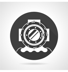 Old dive helmet black round icon vector
