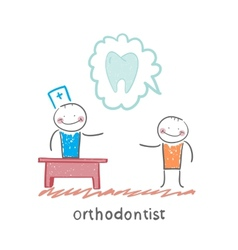 orthodontist says to a patient about tooth vector image