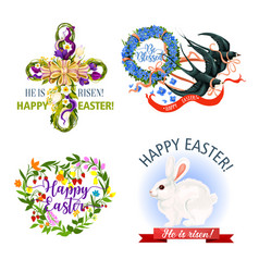 paschal easter holiday icons and symbols vector image