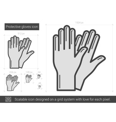 Protective gloves line icon vector