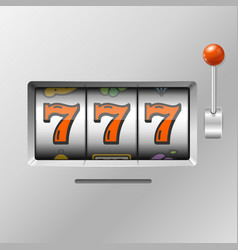 Realistic slot machine with handle one arm vector