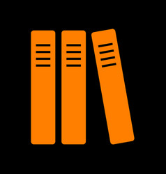 Row of binders office folders icon orange icon vector