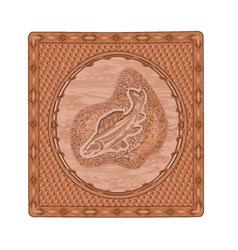 Salmon fish predator woodcarving vector