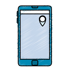 smartphone device with gps pin vector image