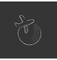 Travel by plane drawn in chalk icon vector