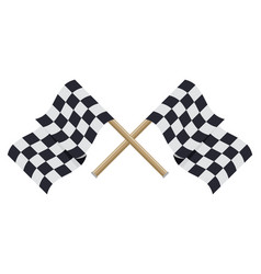 Two crossed checkered racing flags in flat style vector