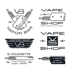 Vapor bar and vape shop badges vector image