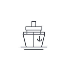 yacht boat cruise ship thin line icon linear vector image