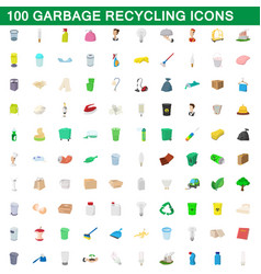 100 garbage recycling icons set cartoon style vector image vector image