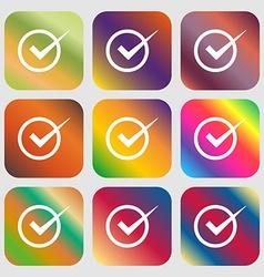 Check mark sign icon checkbox button nine buttons vector