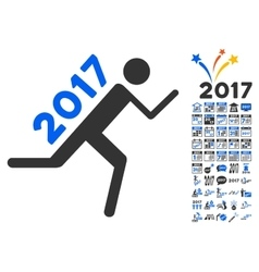 2017 courier icon with 2017 year bonus pictograms vector