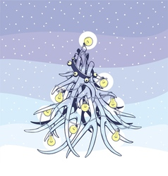 Christmas tree antlers vector