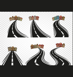 Isolated abstract road with dividing marking and vector