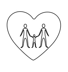 monochrome contour of heart with family unity vector image