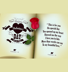Red rose with open of diary background vector