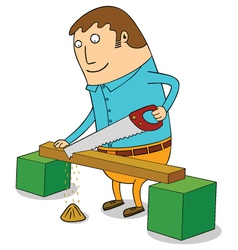 Sawing wood vector
