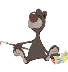 A brown bear the artist cartoon vector
