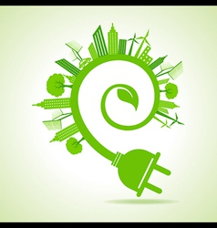 Ecology concept - eco cityscape with leaf and plug vector