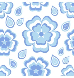 Seamless pattern with blue flowers sakura vector image