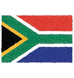 Hand drawn of flag of south africa vector