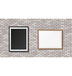 White brick wall with frames vector