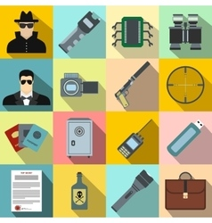 Spy flat icons vector