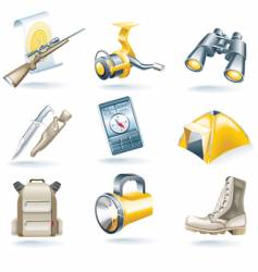 hunt and fishing icon set vector image