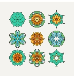 Set of ornate mandala symbols mehndi lace vector