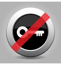 Gray chrome button - no key vector