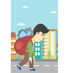 Man with backpack full of electronic devices vector