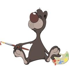 A brown bear the artist Cartoon vector image