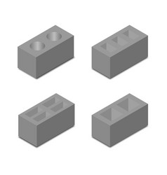 A set of isometric cinder blocks vector