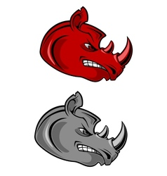 Aggressive cartoon rhino with bared teeth vector image