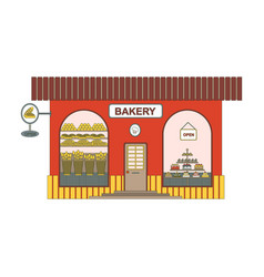 baking shop cartoon icon in flat style bakery vector image vector image