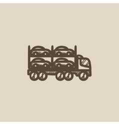 Car carrier sketch icon vector