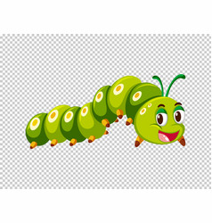 Caterpillar in green color vector