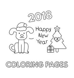 Christmas coloring pages with cartoon dog vector
