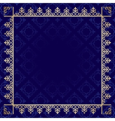 dark blue background with ornamental frame vector image