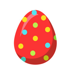 Easter red egg with colorful dot decoration vector