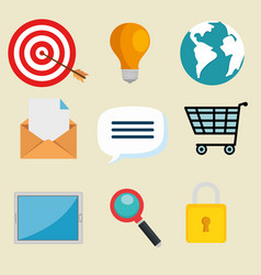 email marketing internet advertising icons vector image