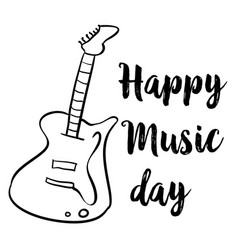Happy music day hand draw style card vector