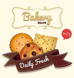 Logo design with cookies and text vector