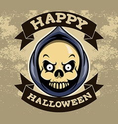 Reaper Head Halloween Badge vector image vector image