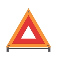Red warning triangle emergency road sign flat vector