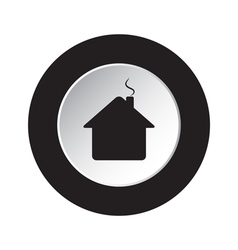 Round black white button - home with chimney icon vector