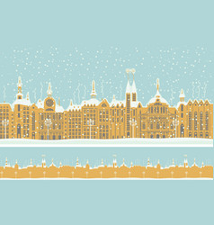 seamless ornament with old winter town with snow vector image vector image