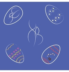 Set of Easter eggs in dark colors vector image