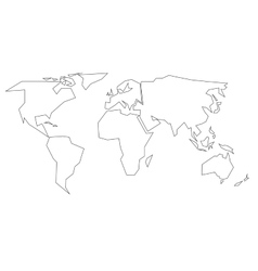 Simplified black outline of world map divided to vector
