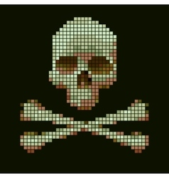 Skull and crossbones collected from pixels vector image vector image