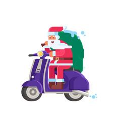 smiling santa delivering gifts on scooter vector image
